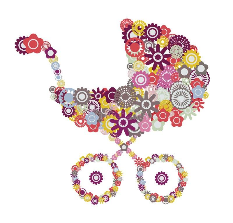 Carrinho de criança de bebê ilustração stock