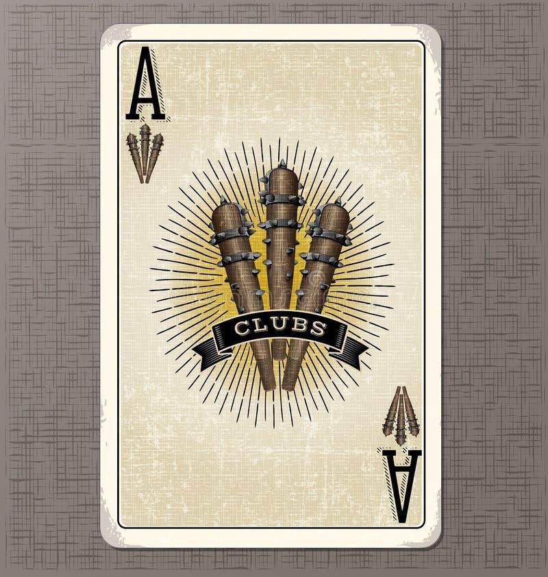 Ilustração do vetor do cartão de jogo do vintage do ás de clubes ilustração royalty free