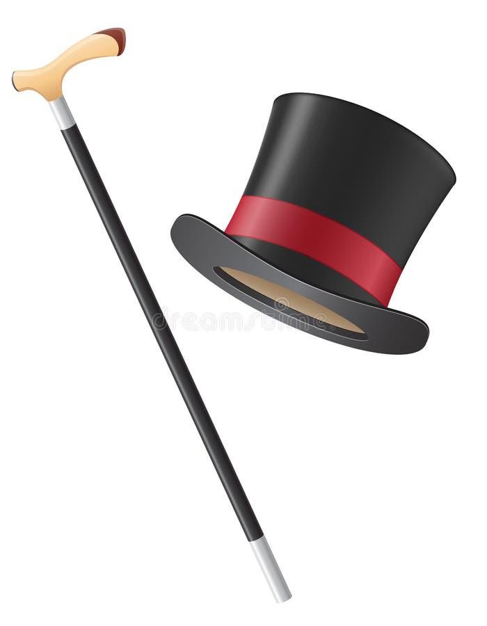 Ilustração do vetor do chapéu do cilindro e da vara de passeio ilustração do vetor