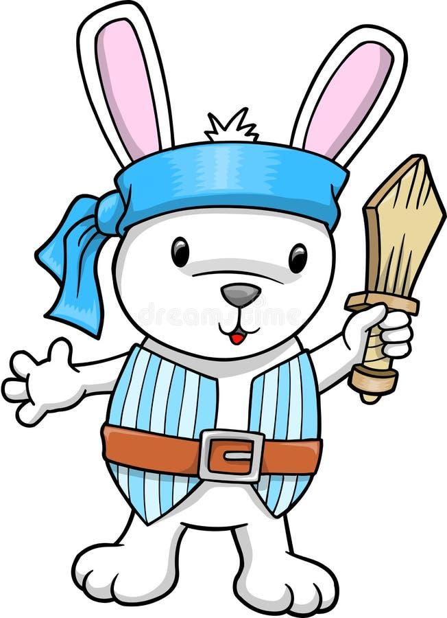 Ilustração do vetor do coelho do pirata ilustração do vetor