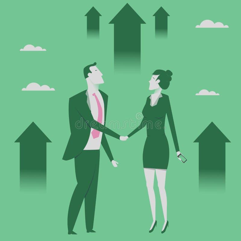 Ilustração do vetor do conceito da parceria do negócio Homem de negócios e mulher que agitam as mãos Alcangando o objetivo Cresci ilustração do vetor