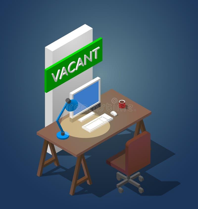 Ilustração do vetor do conceito de um local de trabalho vago Uma tabela isométrica com um computador um candeeiro de mesa e uma x ilustração royalty free