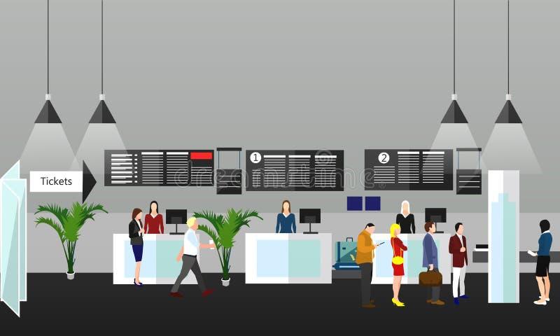 Ilustração do vetor do conceito do terminal de aeroporto Elementos e bandeiras do projeto no estilo liso Curso ilustração stock