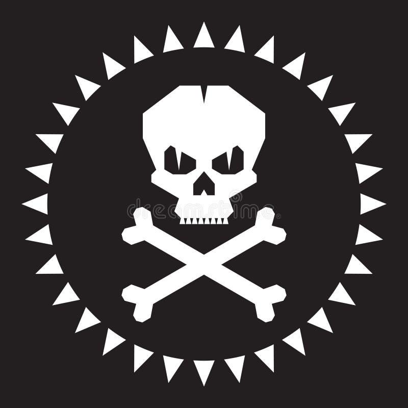 Ilustração do vetor do crânio Sinal gráfico original ilustração stock