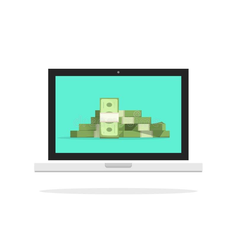 Ilustração do vetor do dinheiro do portátil, pilha grande do computador do PC do dinheiro ilustração stock