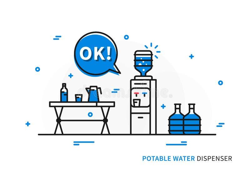 Ilustração do vetor do distribuidor da água potável ilustração royalty free