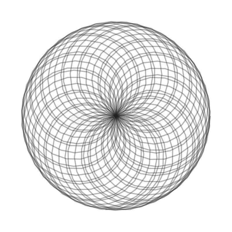 Ilustração do vetor do elemento do Spirograph no fundo branco Abst ilustração stock