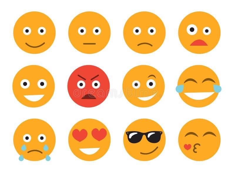 Ilustração do vetor do Emoticon Ajuste a cara do emoticon em um fundo branco Coleção diferente das emoções ilustração royalty free