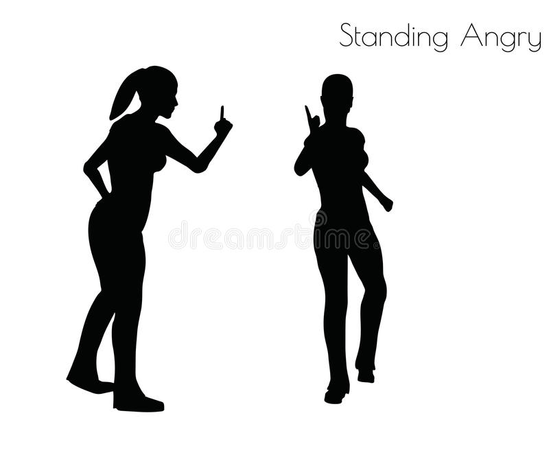 Ilustração do vetor do EPS 10 da mulher em estar a pose irritada no fundo branco ilustração stock