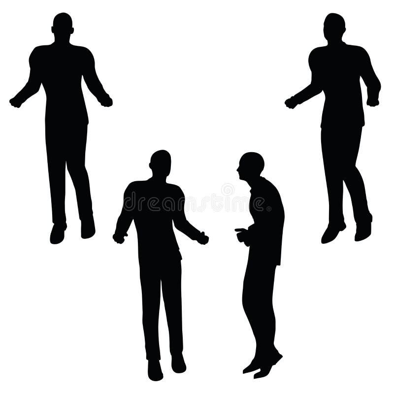 Ilustração do vetor do EPS 10 da silhueta do homem de negócio na pose irritada ilustração royalty free