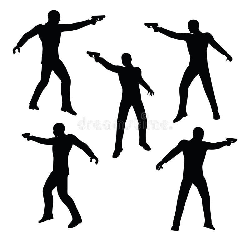Ilustração do vetor do EPS 10 da silhueta do homem de negócios do atirador no preto ilustração do vetor