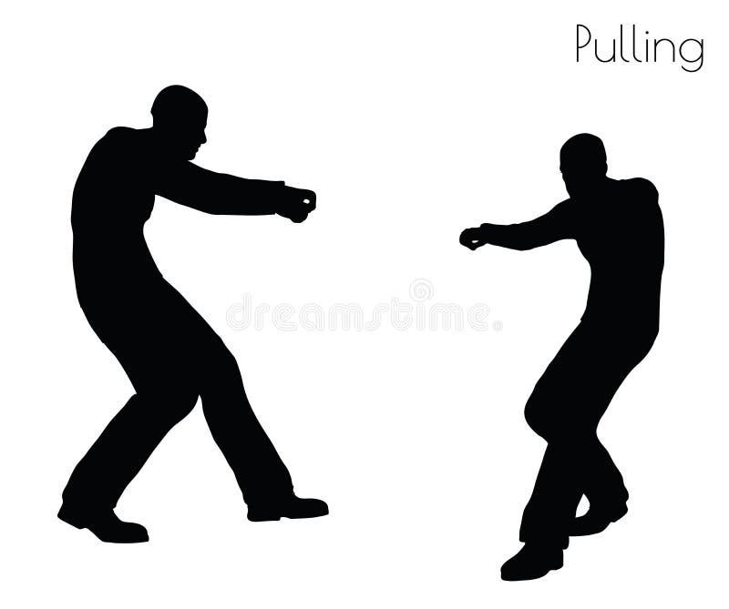 Ilustração do vetor do EPS 10 do homem em puxar a pose da ação no fundo branco ilustração do vetor