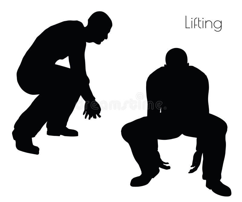 Ilustração do vetor do EPS 10 do homem na pose de levantamento da ação no fundo branco ilustração do vetor