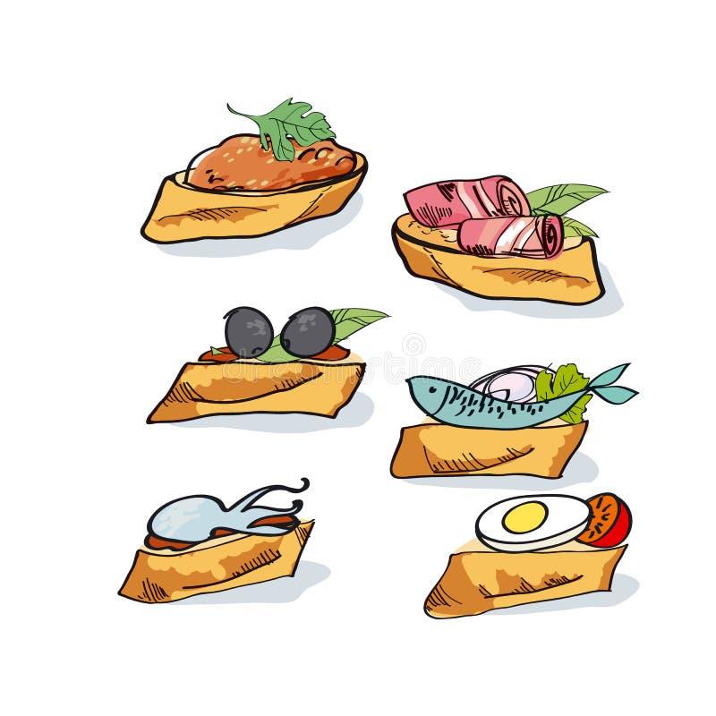 Ilustração do vetor do esboço dos Tapas ilustração stock
