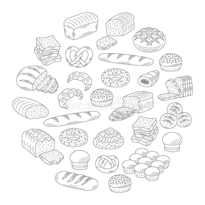 Ilustração do vetor do estilo da garatuja da coleção do pão fresco da padaria ilustração royalty free