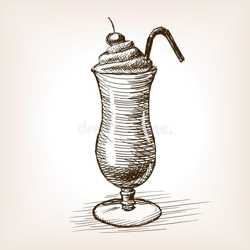 Ilustração do vetor do estilo do esboço da agitação de leite ilustração do vetor