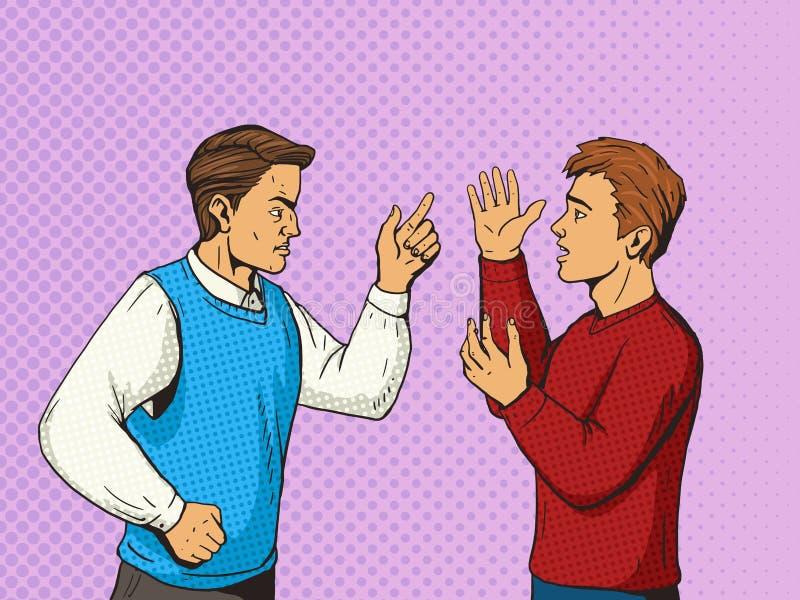 Ilustração do vetor do estilo do pop art do debate dos homens ilustração do vetor