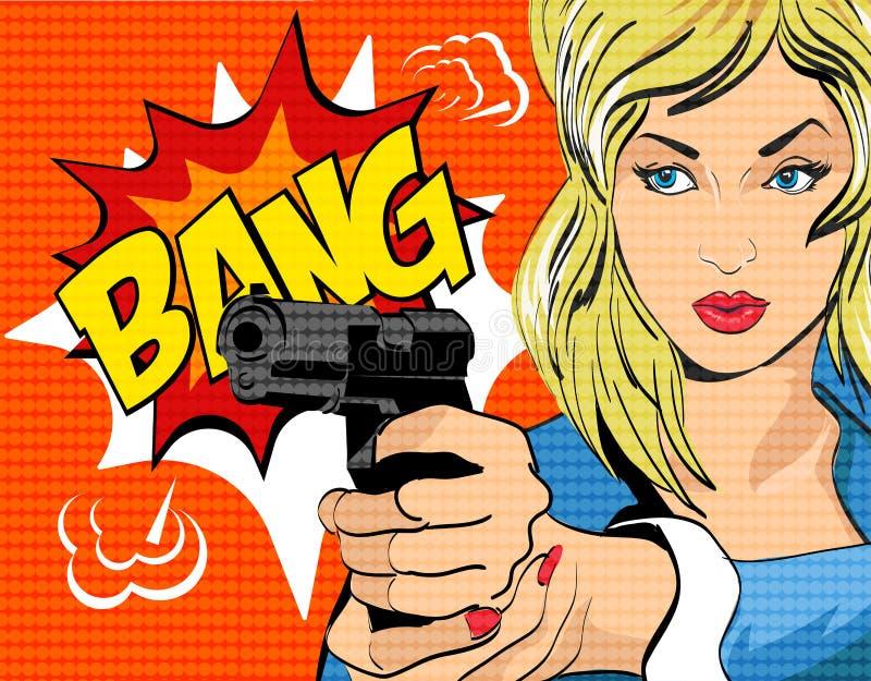 Ilustração do vetor do estilo do pop art Mulher com arma imagens de stock