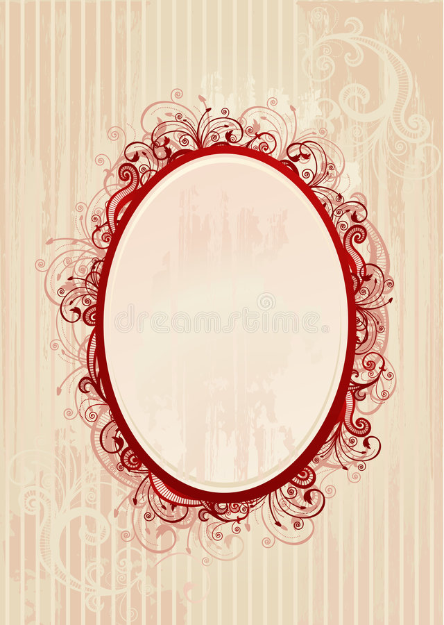 Ilustração do vetor do frame oval romântico ilustração stock