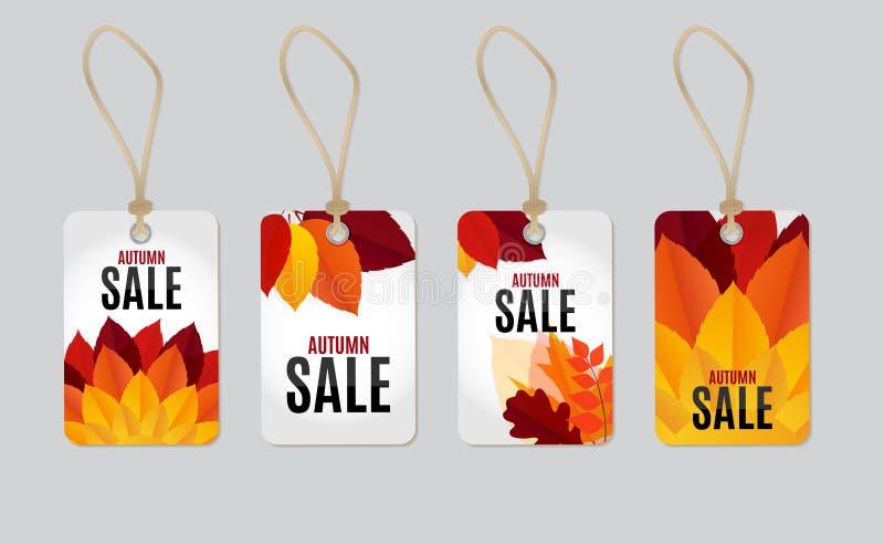 Ilustração do vetor do fundo de Autumn Leaves Sale Tag Label ilustração stock