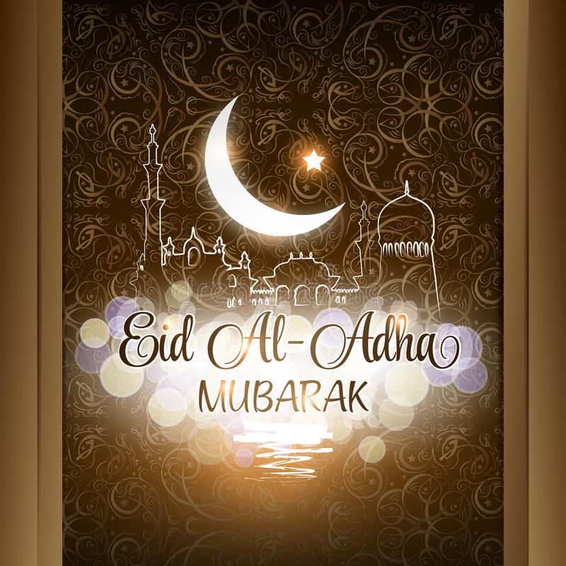 Ilustração do vetor do fundo de Eid Al Adha Mubarak com mesquita ilustração do vetor