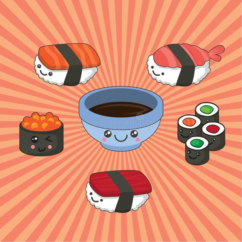 Ilustração do vetor do grupo do sushi no estilo do kawaii rolos com atum, salmão, molho de soja do caviar ilustração stock