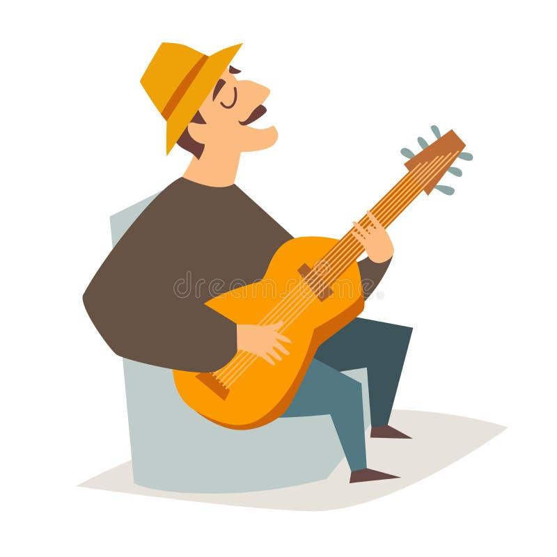 Ilustração do vetor do guitarrista Homem do músico com guitarra ilustração stock