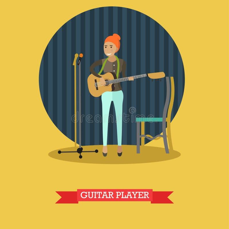 Ilustração do vetor do guitarrista no estilo liso ilustração stock