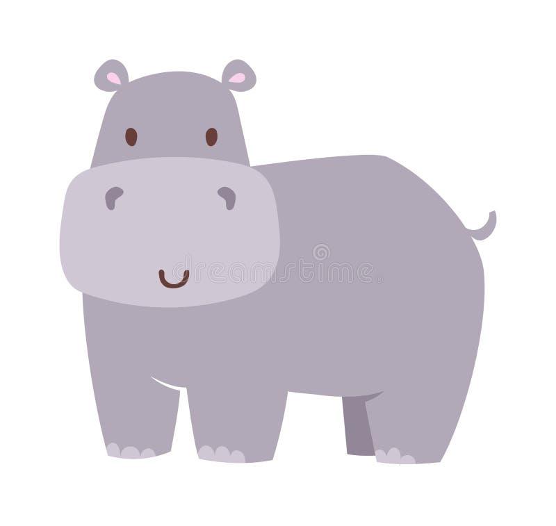 Ilustração do vetor do hipopótamo do divertimento ilustração royalty free