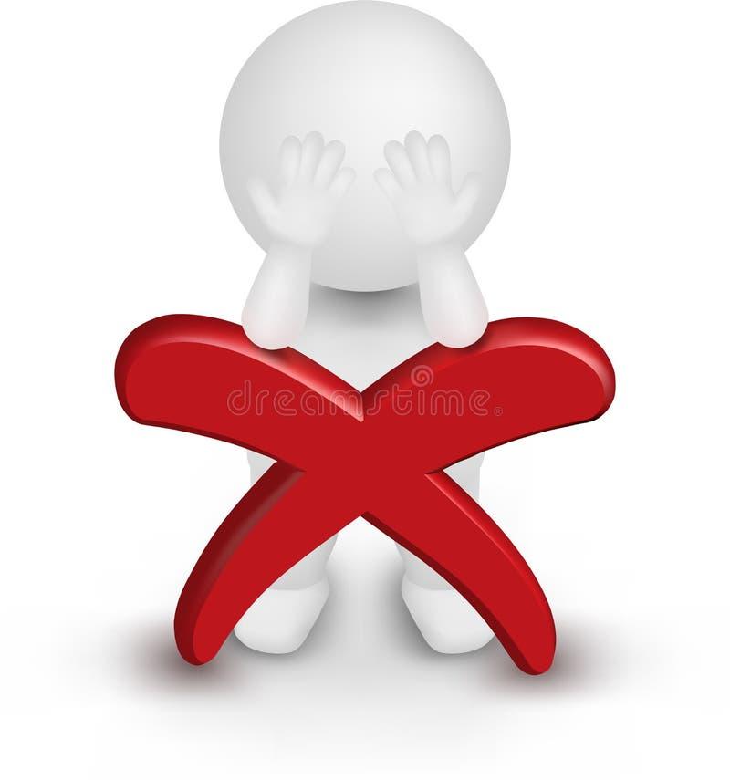 ilustração do vetor do homem 3d que inclina-se na cruz vermelha. ilustração stock