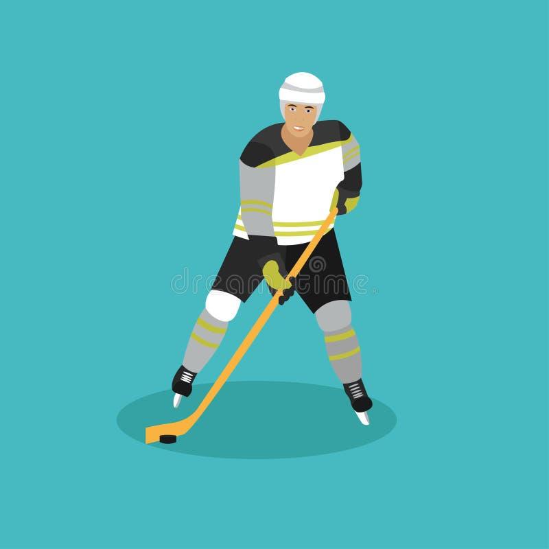 Ilustração do vetor do jogador de hóquei em gelo Homem no projeto liso uniforme do estilo do esporte ilustração royalty free