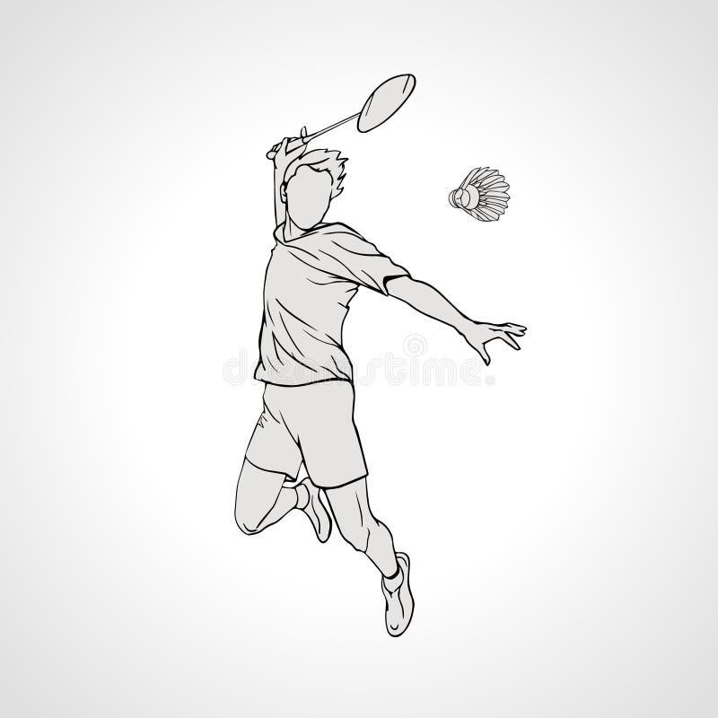 Ilustração do vetor do jogador do badminton Mão ilustração do vetor