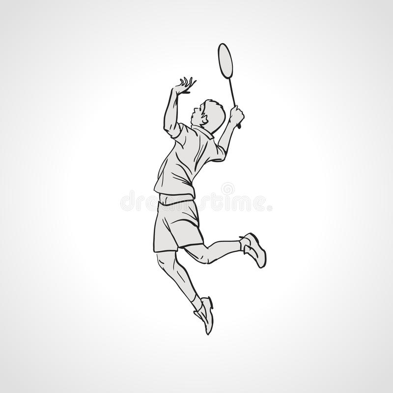 Ilustração do vetor do jogador do badminton Mão desenhada ilustração do vetor
