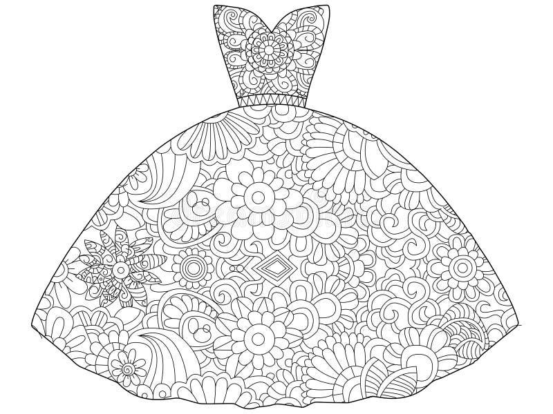 Ilustração do vetor do livro para colorir da princesa do vestido ilustração stock