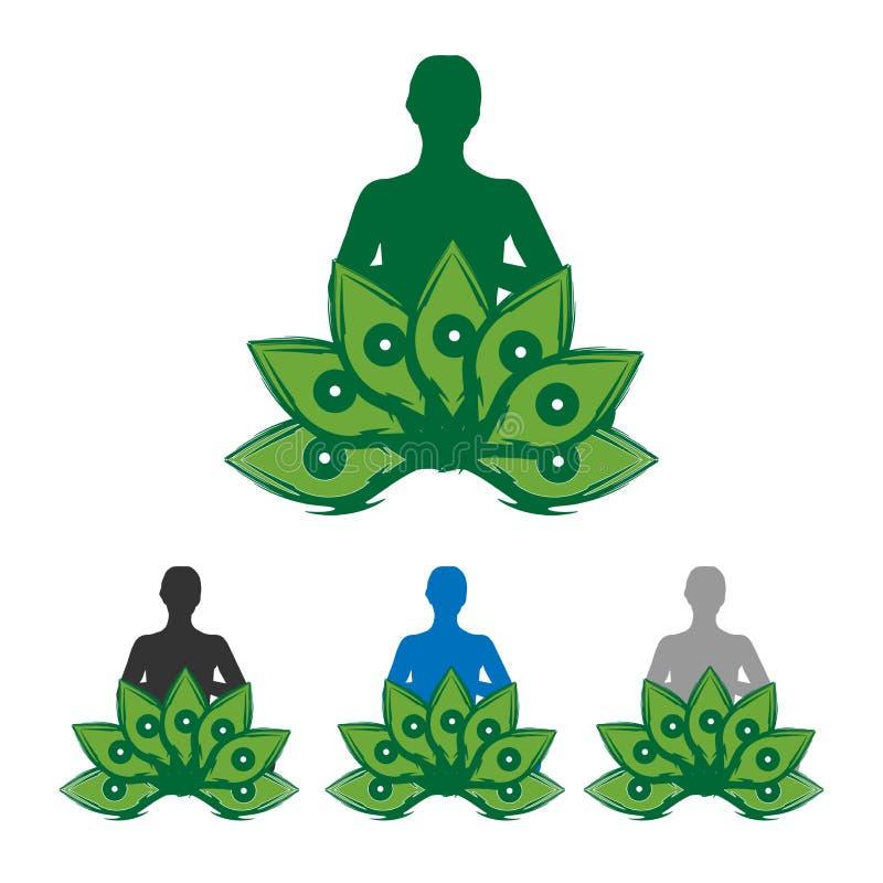 Ilustração do vetor do logotipo da meditação da ioga no fundo branco ilustração stock