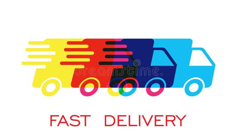 Ilustração do vetor do logotipo do caminhão de entrega Ícone rápido do transporte do serviço de entrega ilustração royalty free