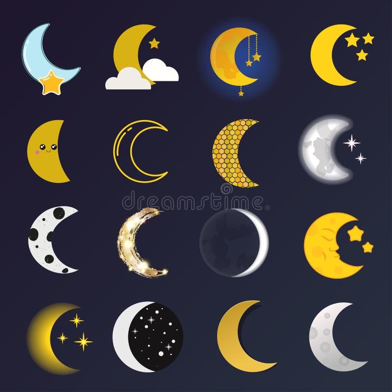 Ilustração do vetor do mês de lua ilustração stock