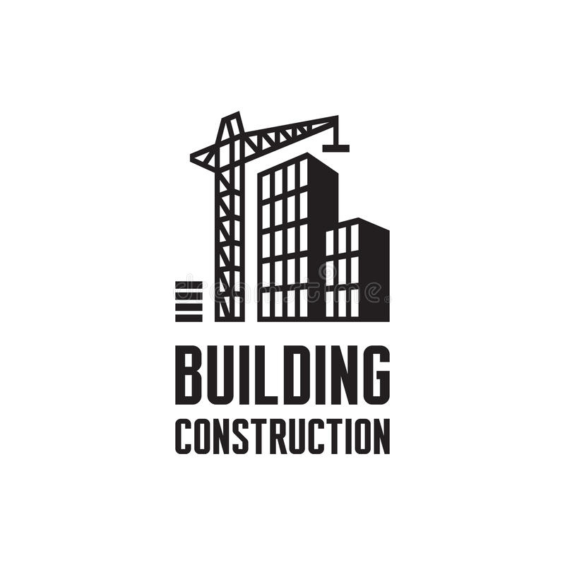 Ilustração do vetor do molde do logotipo da construção civil Conceito do guindaste em cores pretas & brancas Sinal dos bens imobi ilustração stock