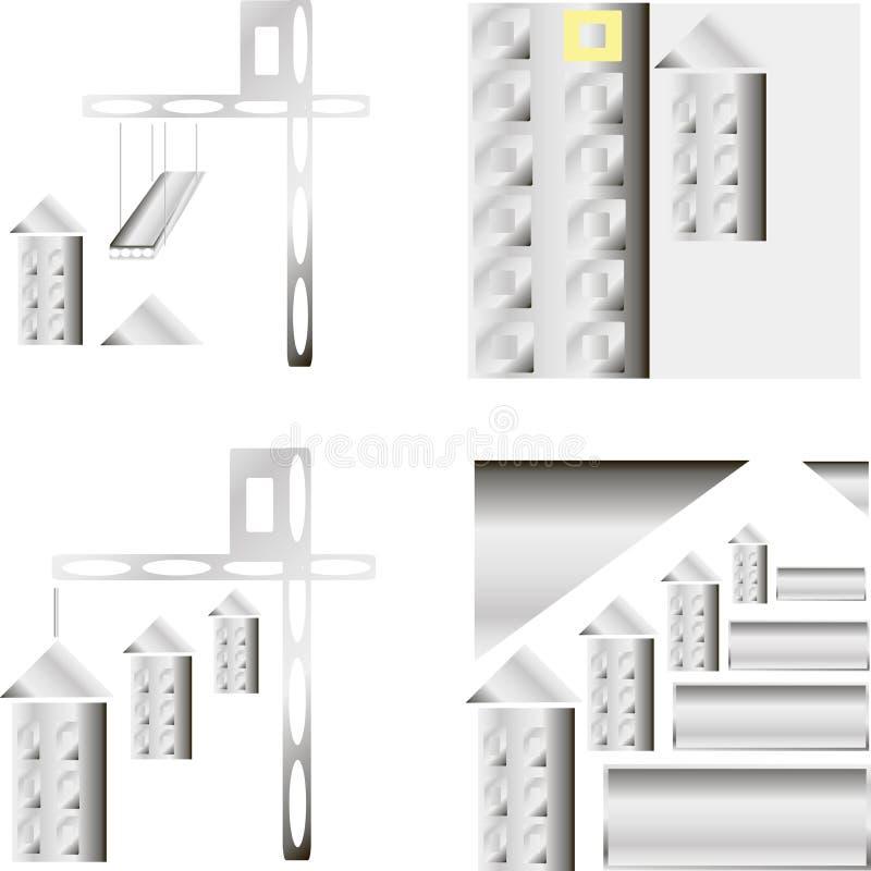 Ilustração do vetor do molde do logotipo da construção civil Página da web da reconstrução Elemento do projeto ilustração stock