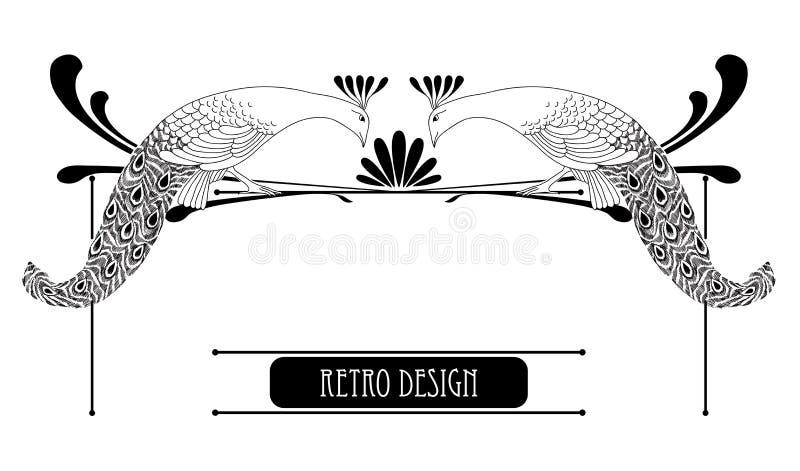 Ilustração do vetor do pavão tirado mão do vintage ilustração do vetor