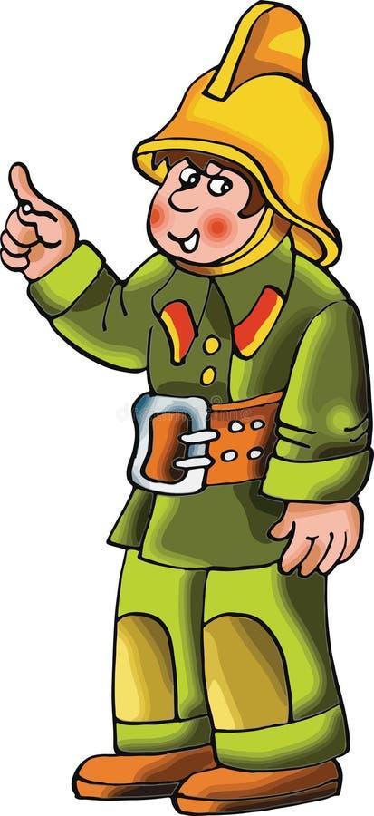 Ilustração do personagem de banda desenhada do bombeiro ilustração do vetor