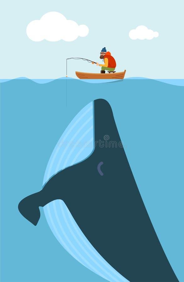 Ilustração do vetor do pescador e da baleia enorme ilustração do vetor