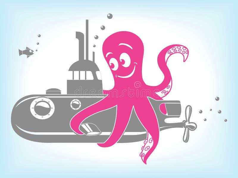 Ilustração do vetor do polvo e do submarino dos desenhos animados ilustração royalty free
