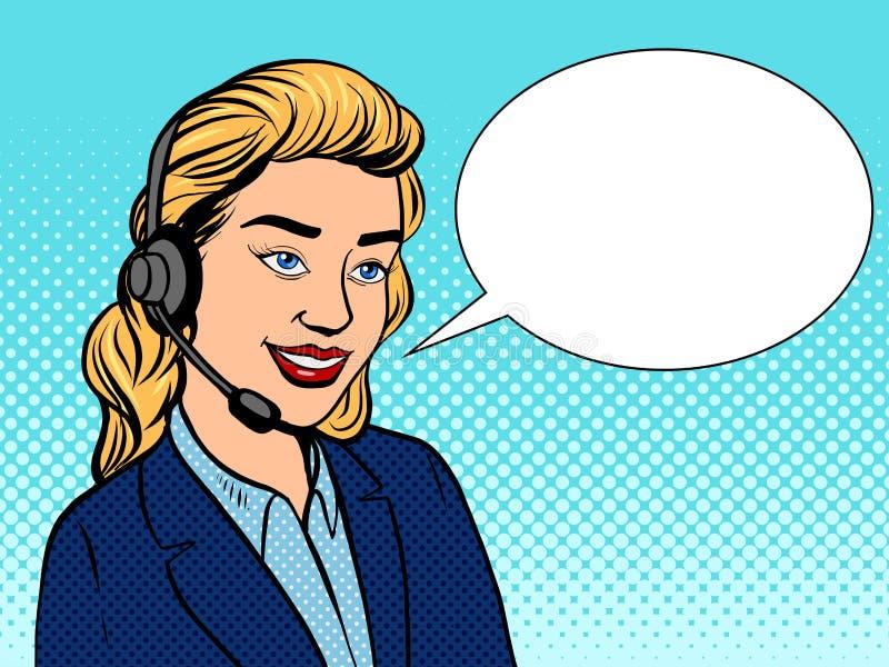 Ilustração do vetor do pop art da menina do suporte técnico ilustração do vetor