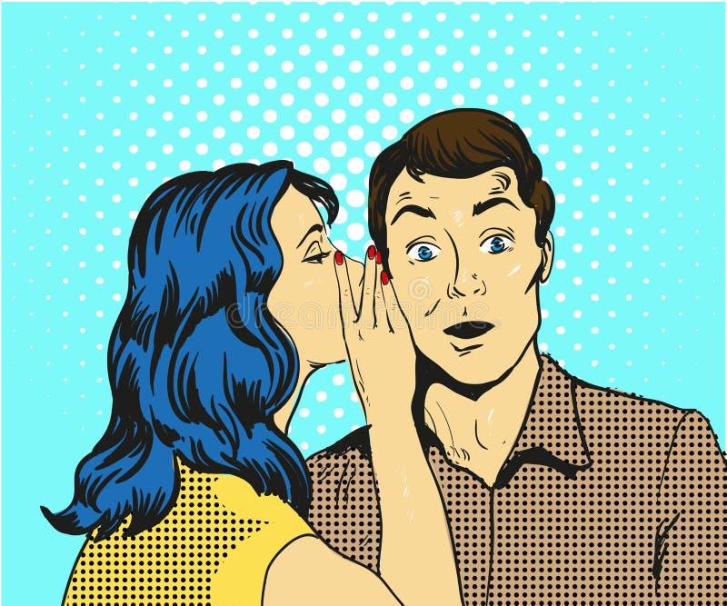 Ilustração do vetor do pop art do sussurro do homem e da mulher ilustração royalty free