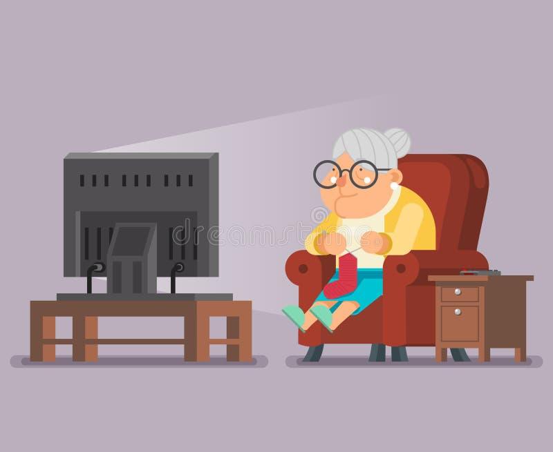 Ilustração do vetor do projeto da tevê Sit Armchair Cartoon Character Flat da senhora idosa Watching ilustração stock