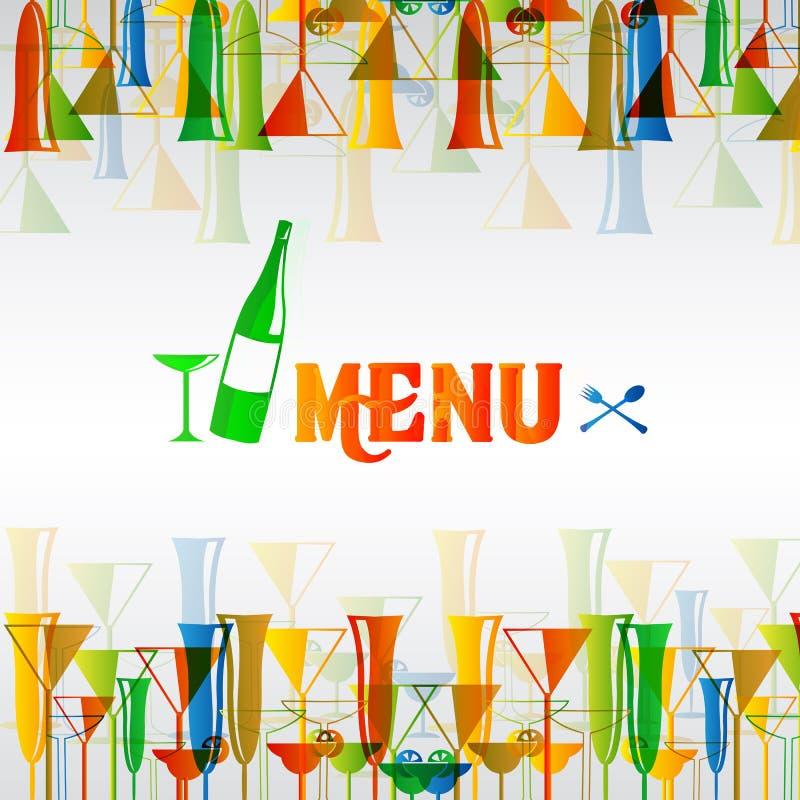 Projeto do menu da barra de vinho do restaurante ilustração royalty free