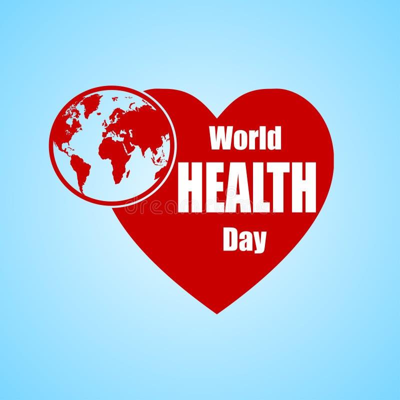 Ilustração do vetor do projeto do texto do conceito do dia de saúde de mundo com globo e coração da terra ilustração royalty free