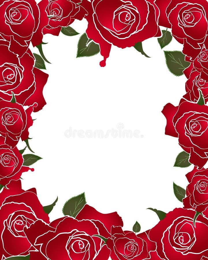 Ilustração do vetor do quadro da rosa do vermelho ilustração do vetor