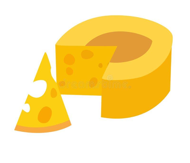 Ilustração do vetor do queijo Ícone amarelo do queijo Parte de queijo ilustração stock